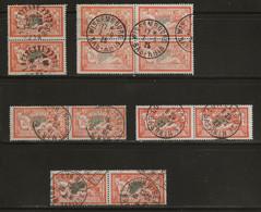 Merson : Lot De Timbres Oblitérés (3 Scans), Paires, Blocs De 4. - 1900-27 Merson