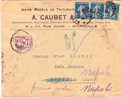 Semeuse 25c Bleue Foncée N°140 Par 3 Sur Lettre Marseille 1924 Pour Italie Poste Restante Taxée Illustrée épices - 1921-1960: Moderne