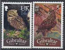 2013  GIBRALTAR  1580-81**  Oiseaux , Rapaces, Surchargés Nouvelle Valeur - Gibraltar