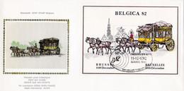 Enveloppe FDC Soie 2077 Bloc 59 Belgica 82 Malle-poste - 1981-90
