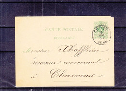 Belgique - Carte Postale De 1885 - Entier Postal - Oblit Herve - Exp Vers Charmeux - - Postcards [1871-09]