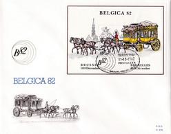 Enveloppe FDC 2077 Bloc 59 Belgica 82 Malle-poste - 1981-90