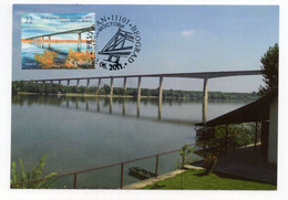 2011 SERBIA,BELGRADE,MAXIMUM CARD,FD CANCELLATION,SCIENCE,BRIDGES,BESKA,DANUBE - Serbia