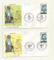 FDC VICTOIRE DE VERDUN  LES 2 ENVELOPPES    CACHET GF  ( VERDUN Et PARIS) Du 28/05/1966 - 1960-1969