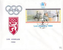 Enveloppe FDC 2121 2122 Bloc 60 Jeux Olympiques Los Angeles équitation Tir à L'arc Wavre - 1981-90