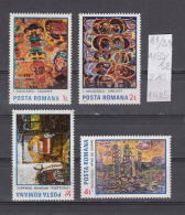 39K81 / 1985 - Michel  Nr. 4155/58 - Paintings By Ion Tuculescu - Fire Circuit Interior  Sunset ** MNH Romania Roumanie - Unused Stamps