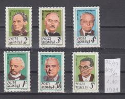39K73 / 1984 - Michel  Nr. 4108/13 - Dr Petru Groza Alexandru Odobescu Dr Carol Davila Dr Nicolae Lupu  ** MNH Romania - Unused Stamps