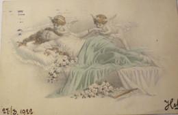 Engel, Frauen, Bett, Rosen, 1922, Christ Vienne ♥ (20674) - Unclassified