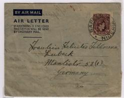 NIGERIA   Aérogramme Type De 1948 Georges VI 6d Sapele 13 Mai 1949 Pour Lubeck   Postal Stationary - Nigeria (1961-...)
