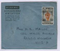 NIGERIA   Aérogramme Type Masque De Bronze De 1953  6d  Oshogbo 28 Novembre 1955 Pour USA   Postal Stationary - Nigeria (1961-...)