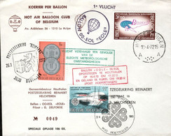 Lettre Courrier Par Ballon En 1972 - Brieven En Documenten