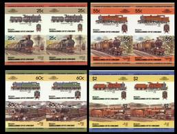 ST.VINCENT GRENADINES-BEQUIA 1985 IMPERF. Trains Railway Locos Ser.III Se-tenant 4-BLOCKS:4 (16 Stamps) - St.Vincent E Grenadine