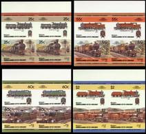 ST.VINCENT GRENADINES-BEQUIA 1985 IMPERF. Trains Railway Locos Ser.III Se-tenant MARG.4-BLOCKS:4 (16 Stamps) - St.Vincent E Grenadine