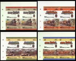 ST.VINCENT GRENADINES-BEQUIA 1985 IMPERF. Trains Railway Locos Ser.III Se-tenant CORNER 4-BLOCKS:4 (16 Stamps) - St.Vincent E Grenadine