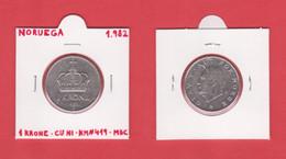 NORUEGA  1 KRONE 1.982  CU-NI  KM#419  VF/MBC    DL-12.743 - Norway