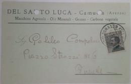 """CAMUCIA - CORTONA - AREZZO - CARTOLINA COMMERCIALE """"DEL SANTO LUCA"""" - MACCHINE AGRICOLE /GRASSO / CARBONE - 1928 - Arezzo"""