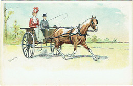 Illustrateur :  BERNIER, G. Attelage Hippomobile. Calèche. - Otros Ilustradores