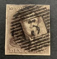 Epaulet 1 - 10c Gestempeld P3 ANDENNE - 1849 Epauletten