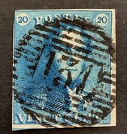 Epaulet 2 - 20c Gestempeld P131 WERVICQ - 1849 Epauletten