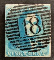 Epaulet 2 - 20c Gestempeld P18 BINCHE - 1849 Epauletten