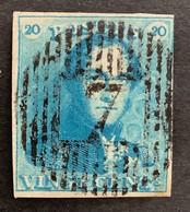Epaulet 2 - 20c Gestempeld D7 BLANKENBERGHE - 1849 Epauletten