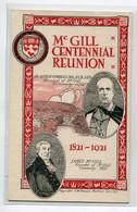 CANADA MONTREAL  James Mc GILL Founder University Centennial Reunin 1921-1921    D09 2021 - Montreal