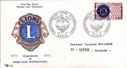 France FDC YT 1534 Lions International Paris 28/10/67 Petite Coupure D'angle, Voir Scan - 1960-1969