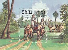 KAMPUCHEA - Folklore, Danse Guerriers, Fête Nationale, Chariot à Boeufs - BF 36, BF 48 - 1983-1986 - Kampuchea