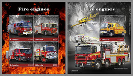 LIBERIA 2020 MNH Fire Engines Feuerwehr Fahrzeuge Camions De Pompiers M/S+S/S - OFFICIAL ISSUE - DHQ2115 - Bombero