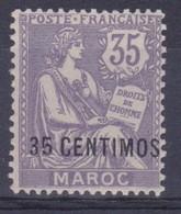 MAROC - 24  35 CENTIMOS SUR 35C VIOLET MOUCHON NEUF* COTE 42 EUR - Neufs