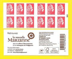 Marianne L'Engagée Carnet X 12 Adhésifs TVP-LP Numéroté 002 N° 1599 France - Definitives