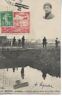 PORT AVIATION Essonne Erinnophilie Vignette Rouge + Mécanique KRAG Sur 10c Semeuse 18.10.1909 Sur Cpa PAULHAN      ..G - Correo Aéreo