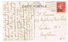 227 SEMEUSE SURCHARGEE  SEULE SUR CPA POUR L'ANGLETERRE PITHIVIERS - 1921-1960: Modern Tijdperk