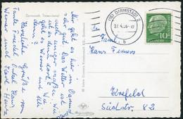 BUND 1956, Nr. 183, 10 Pf. HEUSS AUF PHOTO-PK DARMSTADT, TINTENVIERTEL, MAS-STPL - Storia Postale