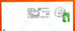72 LE MANS GARE  24 H.  1980 Lettre Entière N° GH 653 - Mechanische Stempels (reclame)