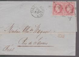 LAC -  N°32 X2 OBL. PARIS  23 SEPT 71 ^pour RIO De JANEIRO - 1801-1848: Voorlopers XIX