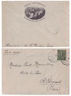 ILLUSTRATION HOTEL DES THERMES BAGNOLES DE L'ORNE Sur LETTRE AFFRANCHIE SEMEUSE 130 CONVOYEUR COUTERNE BRIOUZE 1919 - 1877-1920: Période Semi Moderne