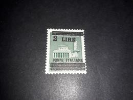 """A8MIX27 REPUBBLICA SOCIALE 1945 NUOVO VALORE POSTE ITALIANE SOPRASTAMPA SU MONUMENTI DISTRUTTI LIRE 2 """"XX"""" - Mint/hinged"""