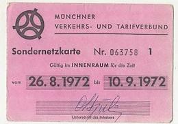 TRANSPORTATION TICKETS, MUNCHEN PUBLIC TRANSPORTATION SPECIAL CARD, 1972, GERMANY - Other