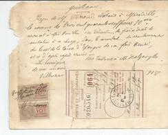 M13 /  FACTURE QUITTANCE FERRAND Notaire MEREVILLE  Timbre Fiscal 10 C VILLENEUVE SAINT GEORGES 1918 - Decreti & Leggi