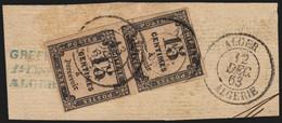France Taxe N°3 Paire, 15c Noir, Oblitérée ALGER Algérie - TB - COTE +40 € - 1859-1955 Gebraucht