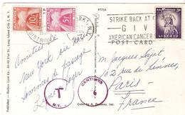 C.P. ILLUSTREE U.S.A. POUR FRANCE  TAXE 15 F ( 10+5 ) Et Taxes Usa   1958 - Lettere Tassate