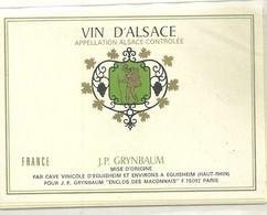 Etiquettes à Vin Lot 5 Pieces Grynbaum Eguisheim Enseigne Vigneron Vin - Unclassified