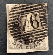 Medaillon 10 - 10c Gestempeld P76 LOUVAIN - 1858-1862 Medaillen (9/12)