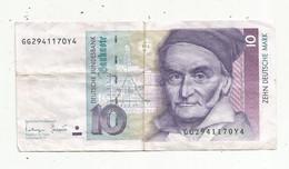 Billet , Allemagne , 1993, 10 , Zhen Deutsche Mark ,GG2941170Y4 , 2 Scans - 10 Deutsche Mark