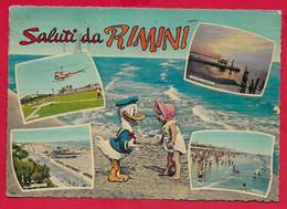 CARTOLINA VG ITALIA - Saluti Da RIMINI - Paperino Walt Disney - Vedutine Multivue - 10 X 15 - 1963 - Greetings From...