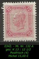 Österreich - Mi. Nr. 132 A - Gez. K 13 : 12 1/2 In Postfrisch - Sin Clasificación