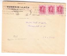 SOBRE DE EUGENIO LLACH. BARCELONA. AÑO1928 CON RODILLO Nº 367 GOMIS Y 3 SELLOS ALFONSO XIII Nº 312 EDIFIL. BONITO - Cartas