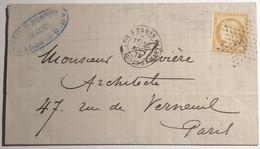 Lettre Affranchie à 15c En étoile De Paris N°39 Sur N°59 - 1849-1876: Periodo Classico