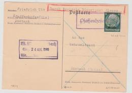 V834 - PFAFFENHOFEN (Els) - 23 Aout 1940 - Type SPAL 300 - Cachet Provisoire - Alsace - PFAFFENHOFFEN - - Alsace Lorraine